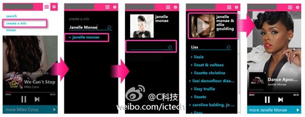 Screenshot per la web app di Nokia Musica