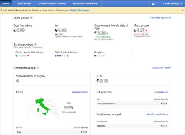 L'homepage di AdSense dopo il restyling