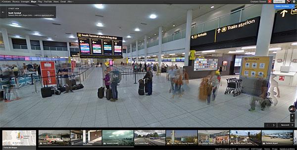 L'interno dell'aeroporto di Gatwick su Street View