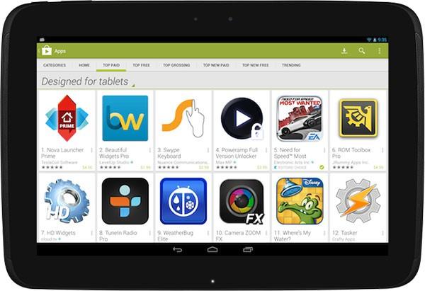 """Le applicazioni ottimizzate per i tablet compariranno nella sezione """"Designed for tablets"""" del Play Store"""