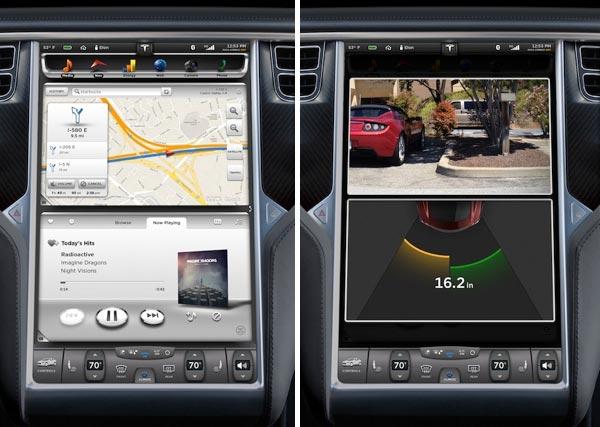 Il pannello touchscreen da 17 pollici integrato nella dashboard dell'automobile elettrica Tesla Model S