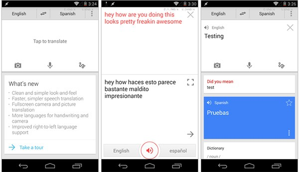 La nuova interfaccia dell'applicazione Google Traduttore