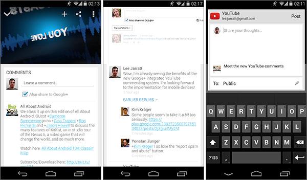Il sistema di commenti di Google+ utilizzato nell'app mobile di YouTube