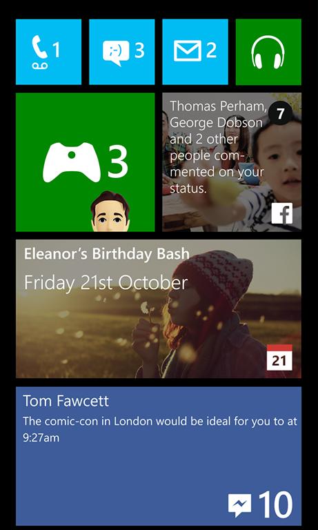 Le live tile principale e secondaria di Facebook per Windows Phone 8.