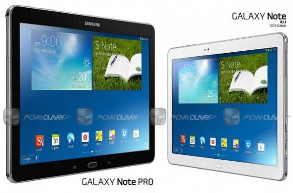 L'atteso Samsung Galaxy Note Pro a sinistra, e il Galaxy Note 101 2014 Edition a destra