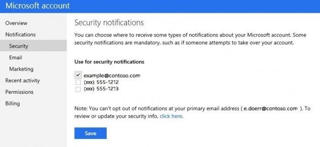 La nuova opzione per la notifiche dell'account Microsoft.
