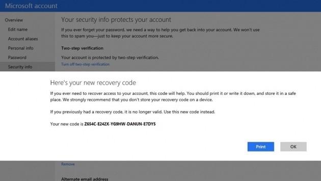 Il nuovo recovery code dell'account Microsoft.