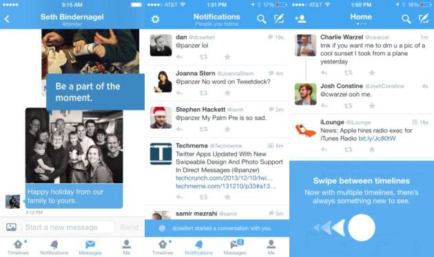 Immagini nei messaggi diretti, pulsante Messaggi e swipe tre le timeline.