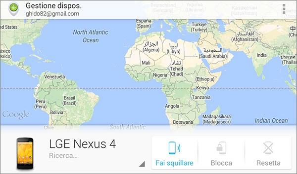 Screenshot per l'applicazione Gestione Dispositivi Android in esecuzione su Nexus 4