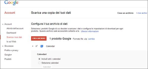 La possibilità di scaricare ed esportare i dati di Calendar con Google Takeout