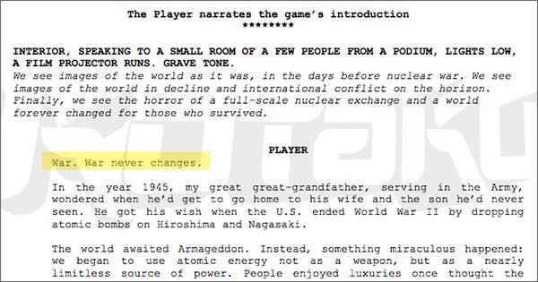 """Lo script per l'introduzione del prossimo Fallout, in un documento """"leaked"""""""