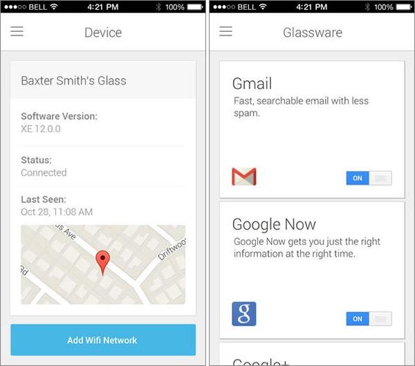 Screenshot per l'applicazione MyGlass pubblicata da Google su App Store