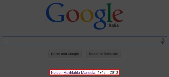 L'omaggio di Google a Nelson Mandela, scomparso nella serata di ieri, con un link sulla homepage del motore di ricerca