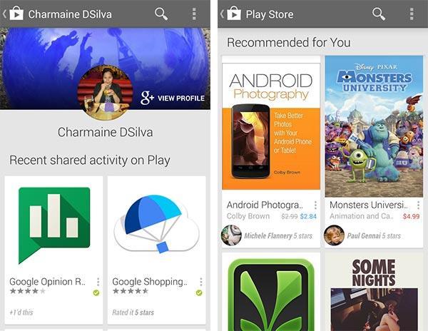Due screenshot per mostrare gli effetti dell'integrazione di Google+ in Google Play, con le raccomandazioni provenienti dai propri amici e familiari