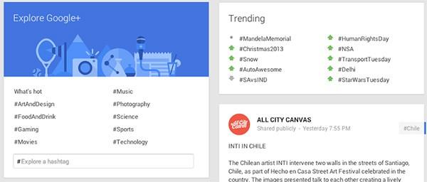 La nuova sezione Esplora (Explore in inglese) di Google+, che raccoglie gli hashtag da mettere in evidenza