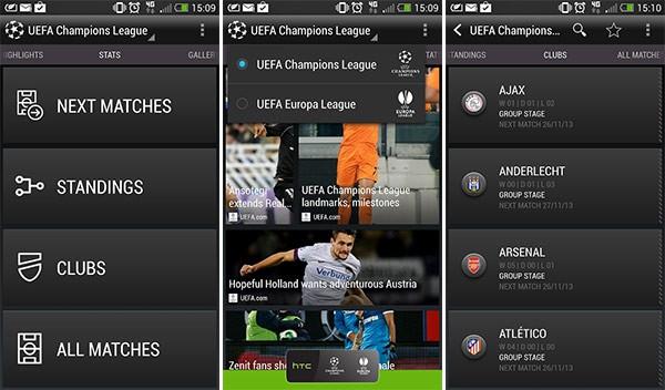 L'interfaccia dell'applicazione HTC FootballFeed per Android