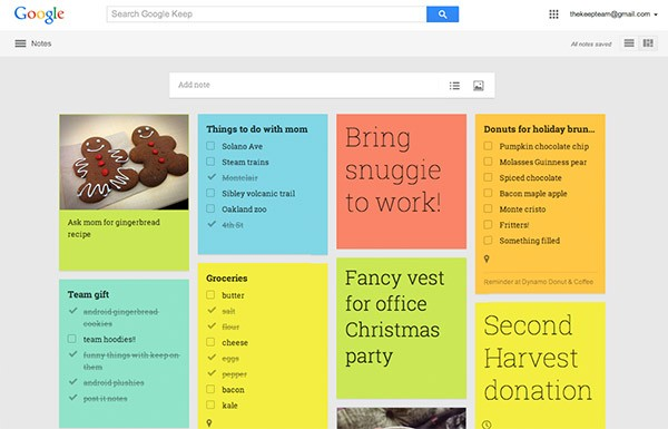 La nuova interfaccia Web di Google Keep