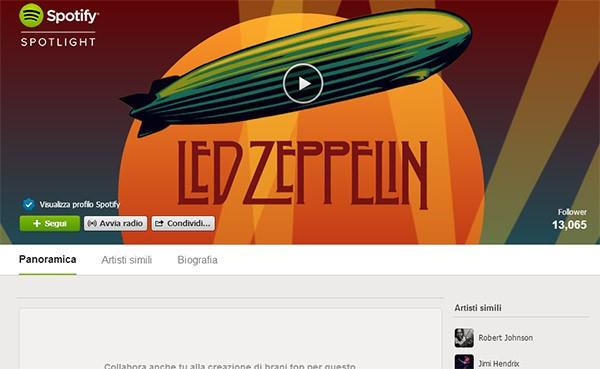 La pagina dei Led Zeppelin su Spotify