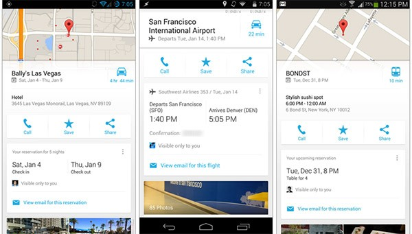 Screenshot per l'integrazione di Gmail nell'app di Google Maps su Android e iOS