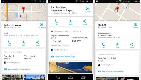 Screenshot per l'integrazione di Gmail nell'app di Google Maps su Android e iOS