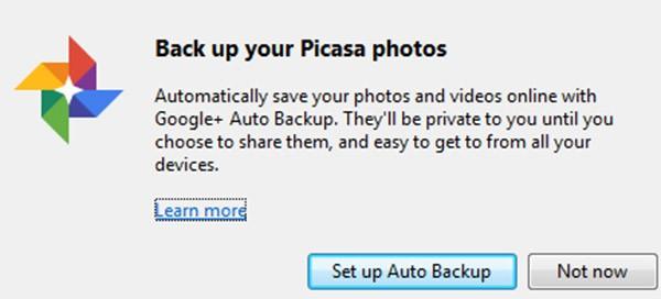 La funzionalità di backup automatico offerta dall'ultima versione del software Picasa