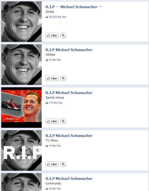 Cercando Michael Schumacher su Facebook
