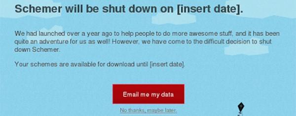Uno screenshot testimonia l'intenzione di chiudere Google Schemer
