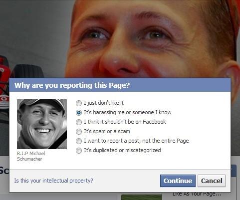 Come segnalare a Facebook la pagina: impossibile accusarla di spam ora, ma di inopportunità sicuramente si