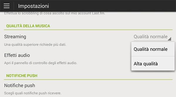 Le impostazioni di Spotify, per configurare la qualità della musica ascoltata in streaming