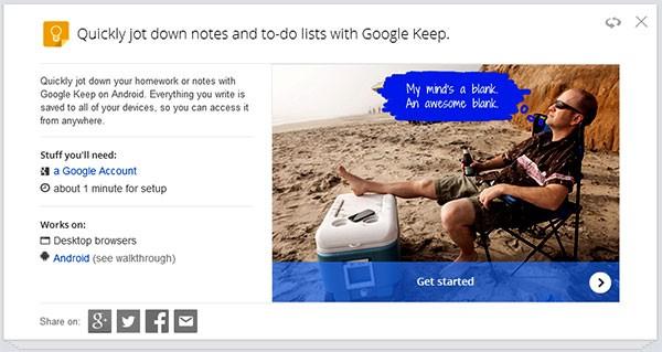 La scheda del servizio Keep per la gestione di appunti e promemoria su Google Tips