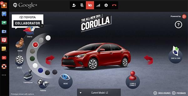 Toyota Collaborator, il tool per la personalizzazione della Corolla 2014 basato sugli Hangouts di Google+