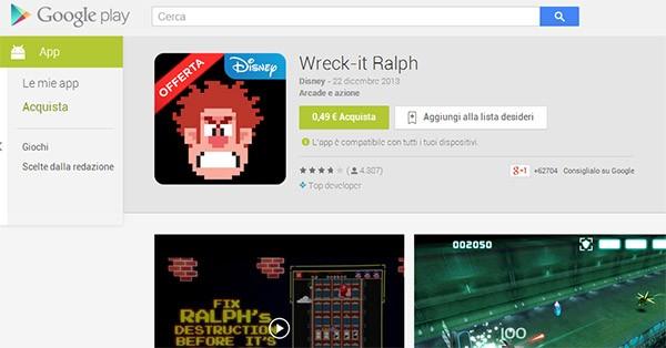 La scheda del gioco Wreck-it Ralph per Android su Google Play