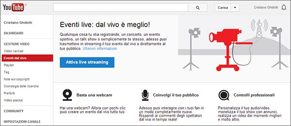 A partire da oggi, YouTube permette a chiunque di effettuare lo streaming live
