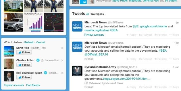 L'account Microsoft News su Twitter pochi minuti dopo l'attacco.