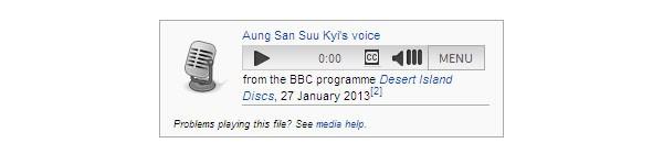 Un esempio di clip audio sulle pagina di Wikipedia. Nel caso di Aung San Suu Kyi, si tratta di un discorso recente, linkato a tutte le fonti citate.