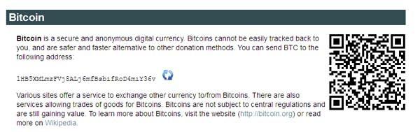 Le istruzioni di Wikileaks per donare coi Bitcoin. Il sito invita a utilizzare questa moneta in quanto crittografata e anonima. Cliccando sul bottone refresh si produce ogni volta una stringa diversa: l'indirizzo al quale spedire, dal proprio wallet, i BTC sul conto di Wikileaks.