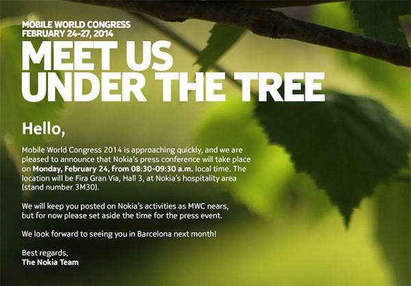 Invito evento Nokia per il MWC 2014