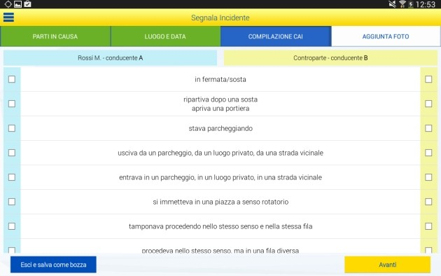 Compilazione del modello CAI su tablet Android.