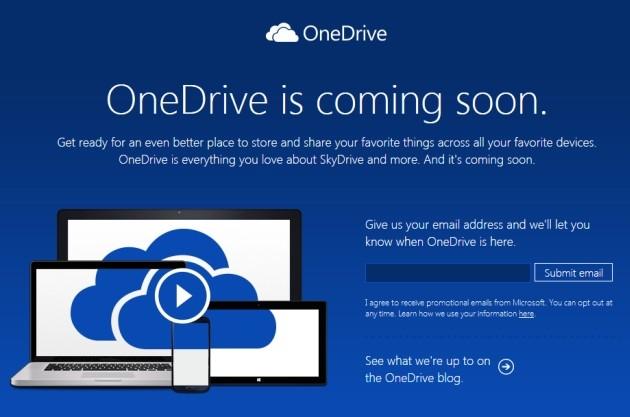 Il nuovo sito del servizio Microsoft OneDrive.