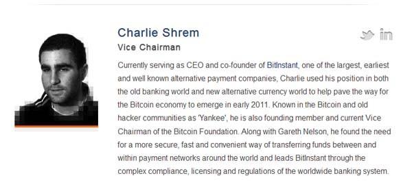 Charlie Shrem, arrestato oggi a New York, è nel board della Bitcoin Foundation, tuttora online. Il sito di Bitcoin Exchange da lui fondato, invece, risulta irraggiungibile.