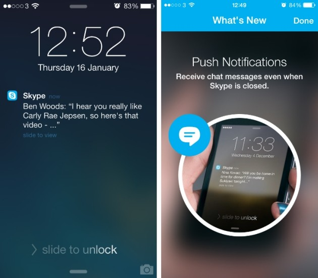 Notifiche push di Skype sul lock screen di iPhone 5S.