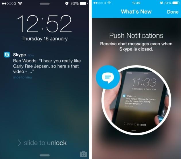 Notifiche push di Skype sul lock screen di iPhone 5S.