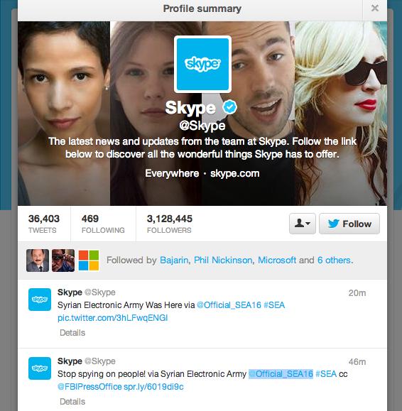 I tweet pubblicati dal SEA sull'account Skype.