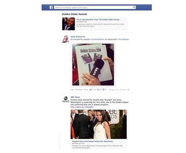 Un esempio dell'effetto dello strumento trending topic su Facebook: il Feed impagina le notizie e i post più recenti dell'argomento in voga (in questo caso:: i golden globe)