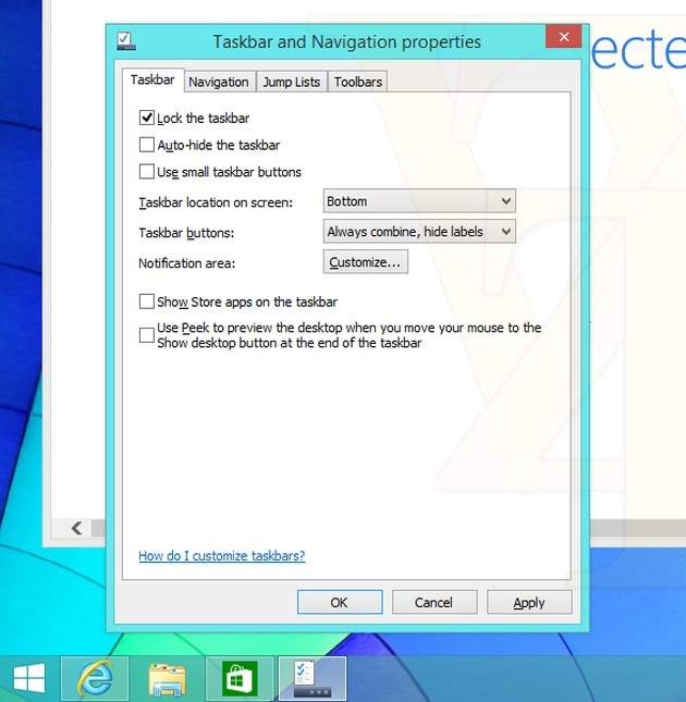 """Lo screenshot di Windows 8.1 Update 1 con l'opzione """"Mostra le Store apps sulla barra delle applicazioni""""."""