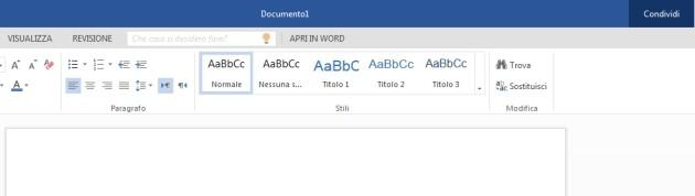 La nuova interfaccia flat della Word Web App.