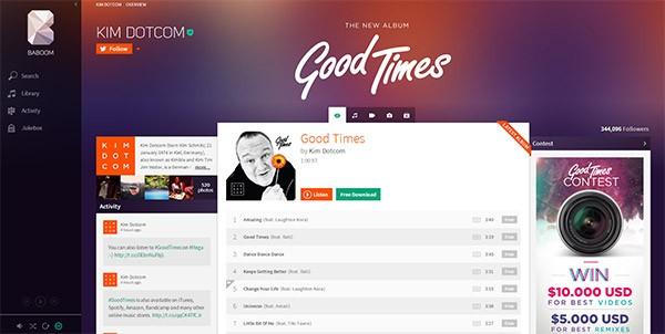 """L'interfaccia di Baboom, con l'album """"Good Times"""" di Kim Dotcom già disponibile per lo streaming"""