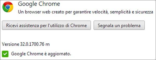 Google ha aggiornato il browser Chrome alla versione 32 (32.0.1700.76 su Windows)