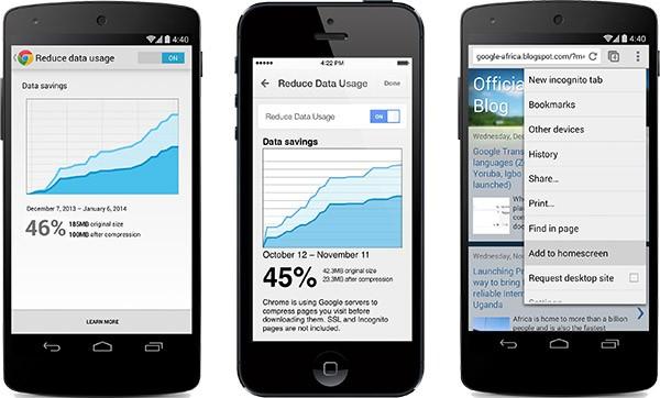 Gestione della banda utilizzata e collegamento alle applicazioni sulla homescreen: due delle novità introdotte da Google in Chrome per Android