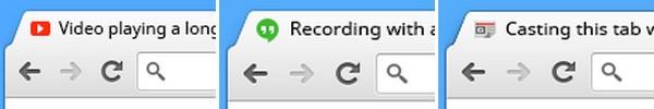 Gli indicatori per la riproduzione dei contenuti multimediali presenti nelle schede di Chrome 32